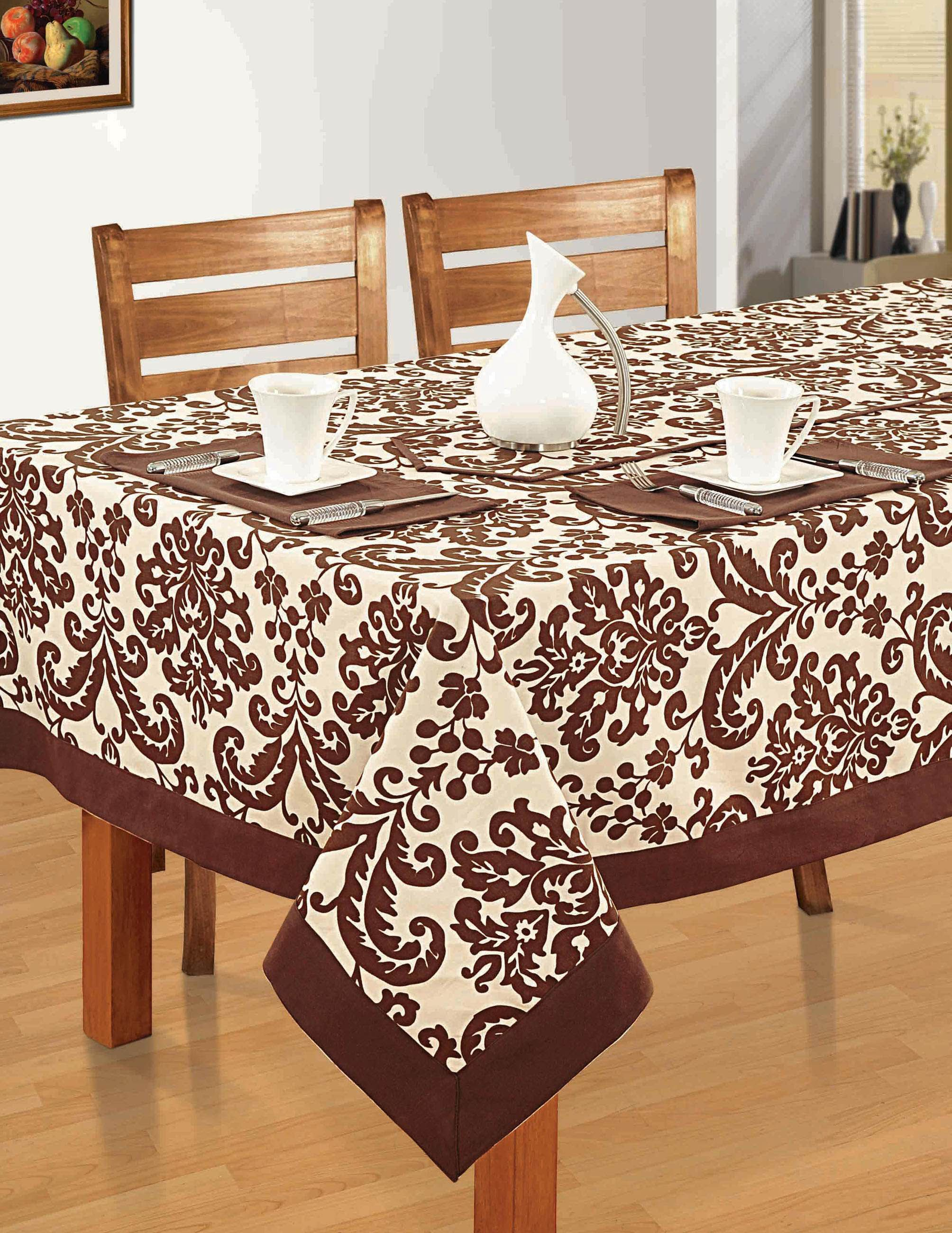 Colorful Rectangular Patterned Cotton Tablecloth 60x120 Inch Chocolate And Cream Damask Table Cloth Buy Table Table Covers
