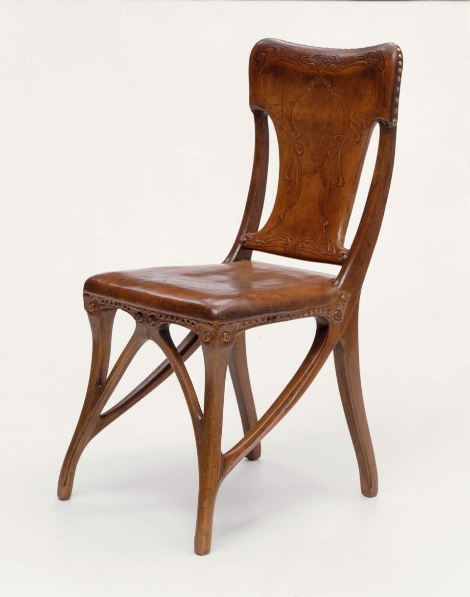 Eugene Gaillard art nouveau walnut & leather chair, 1862