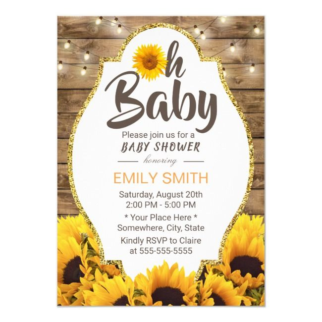 Oh Baby Shower Rustic Sunflowers & String Lights I