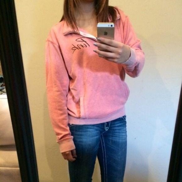 Vs hoodie Pink. Half zip. Size small Victoria's Secret Jackets & Coats