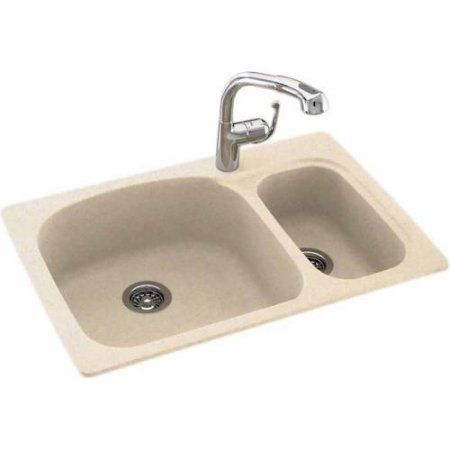 Swan Ksls-3322-010 33 inch x 22 inch Swanstone Double-Basin Dual Mount Kitchen Sink, Available in Various Colors, Beige