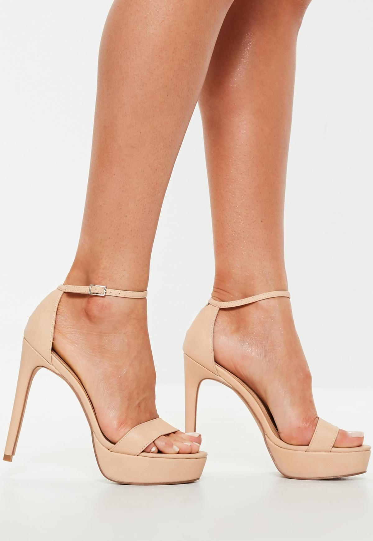 56826cd75485 Nude Simple Strap High Platform Sandal