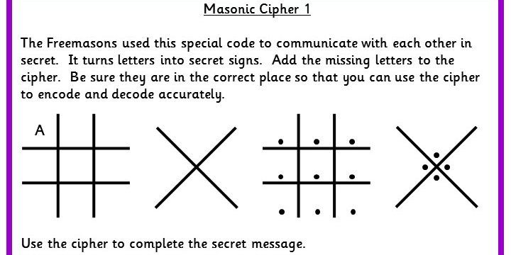 Five Differentiated Worksheets To Use The Masonic Cipher