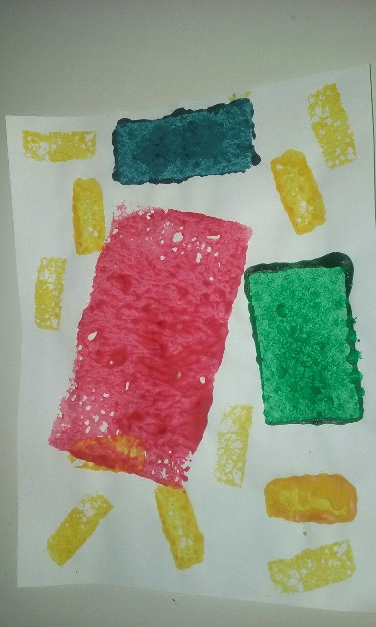 Rectangle Sponge Stamp Art Craft Toddler Crafts Preschool
