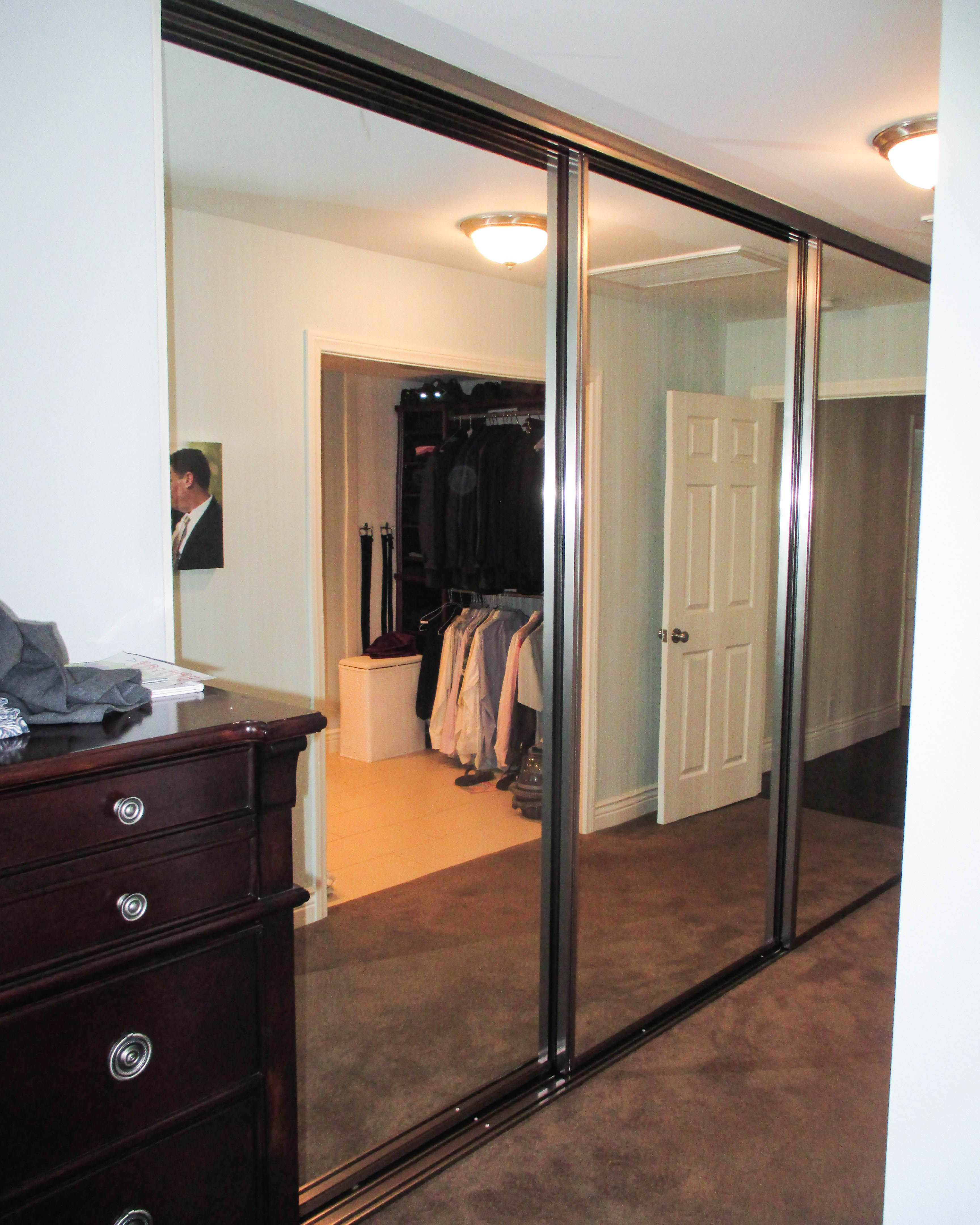 Check Out This 3 Panel 3 Track Concord Bypass Closet Doors With Brushed Nickel Frames And Sliding Closet Doors Sliding Mirror Closet Doors Mirror Closet Doors