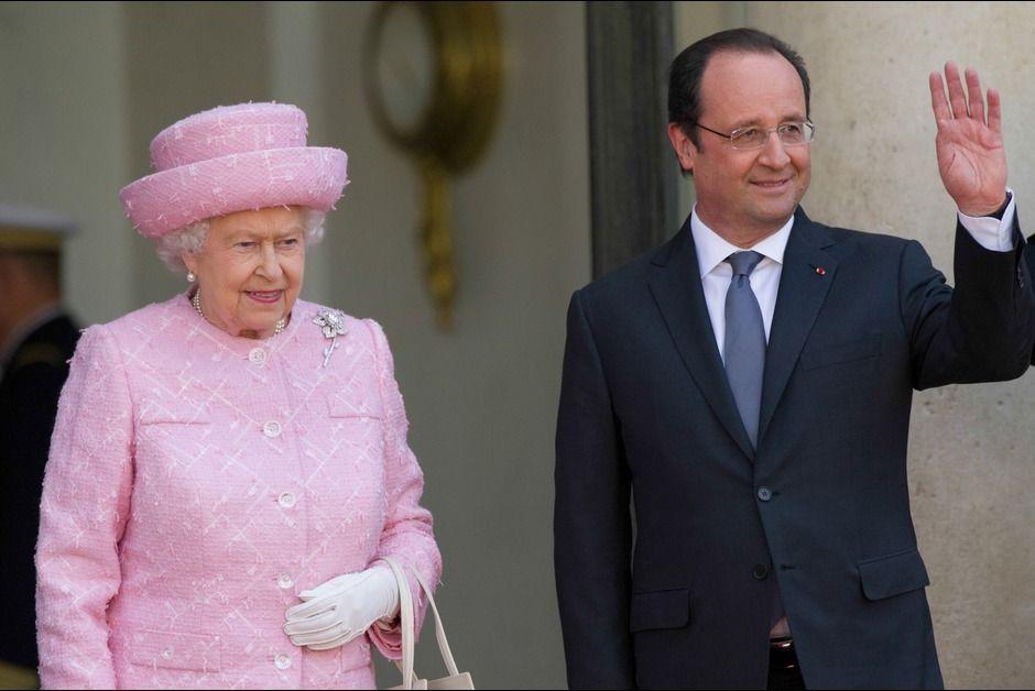Célébrations du D-Day. Elizabeth et François Hollande, rencontre à l'Elysée - Paris Match