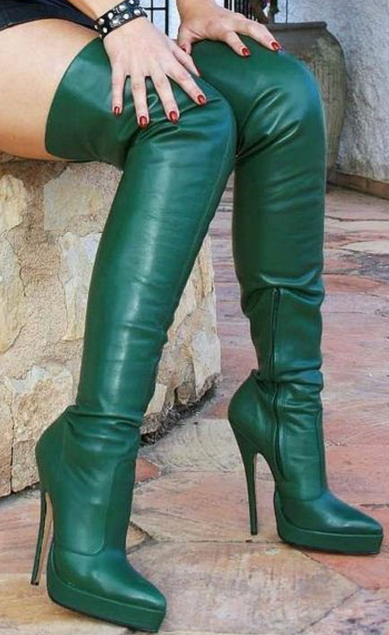 Green Overknee boots | Miu Miu | Overknee stövlar | Miinto.se