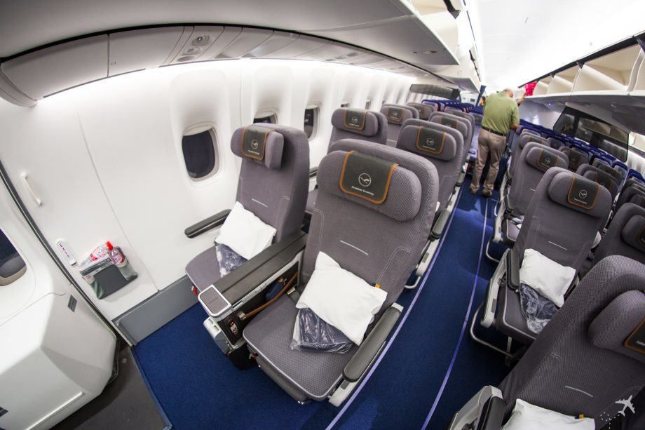 Lufthansa Premium Economy Class Sitze Notausgang Boeing 7478i