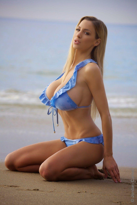 jordan carver big boobs gorgeous hot in blue bikini - big boobs