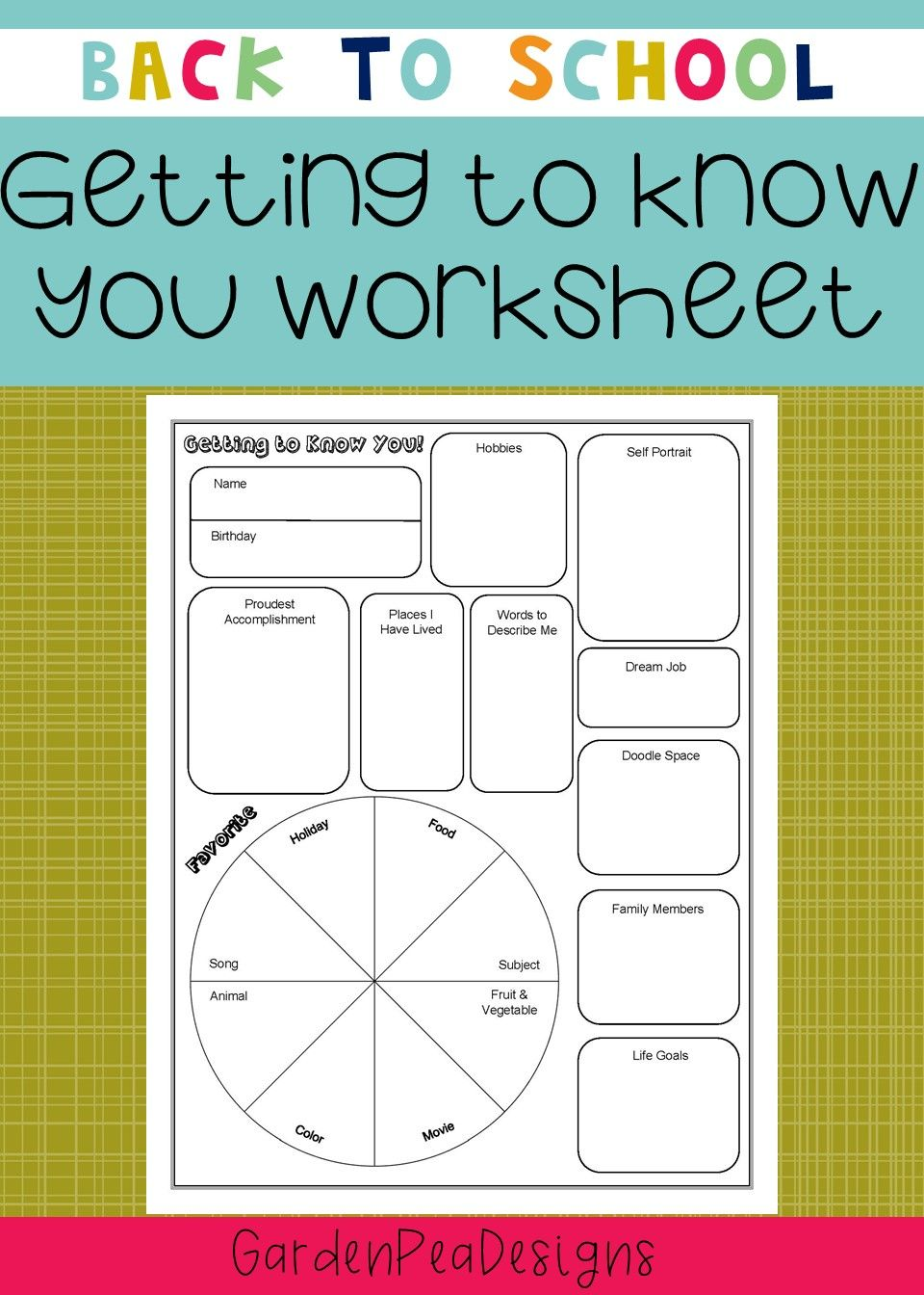 1.00 Quick getting to know you worksheet. Perfect for the