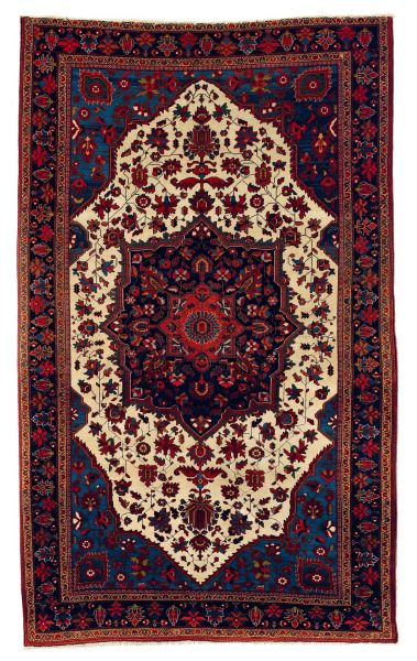 antique Persian rug, very saturated colors, 19th c.