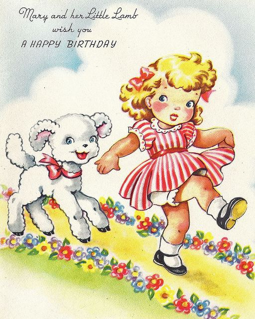 Mary Her Little Lamb Wish You A HAPPY BIRTHDAY