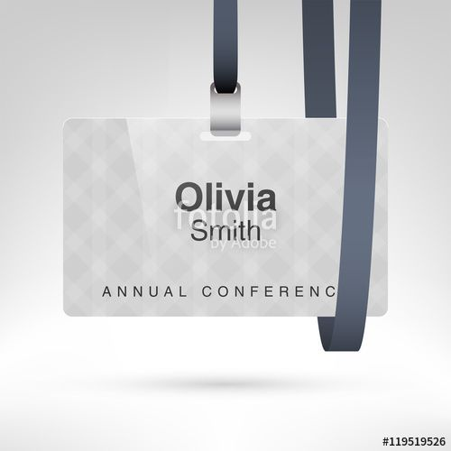 vector conference badge with name tag placeholder blank badge