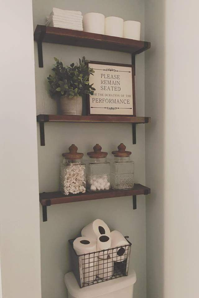 Decorative Rustic Storage Projects For Your Bathroom: Farmhouse Rustic Industrial Bathroom Shelving, With Matching Jars For Storing Q-tips And Cotton
