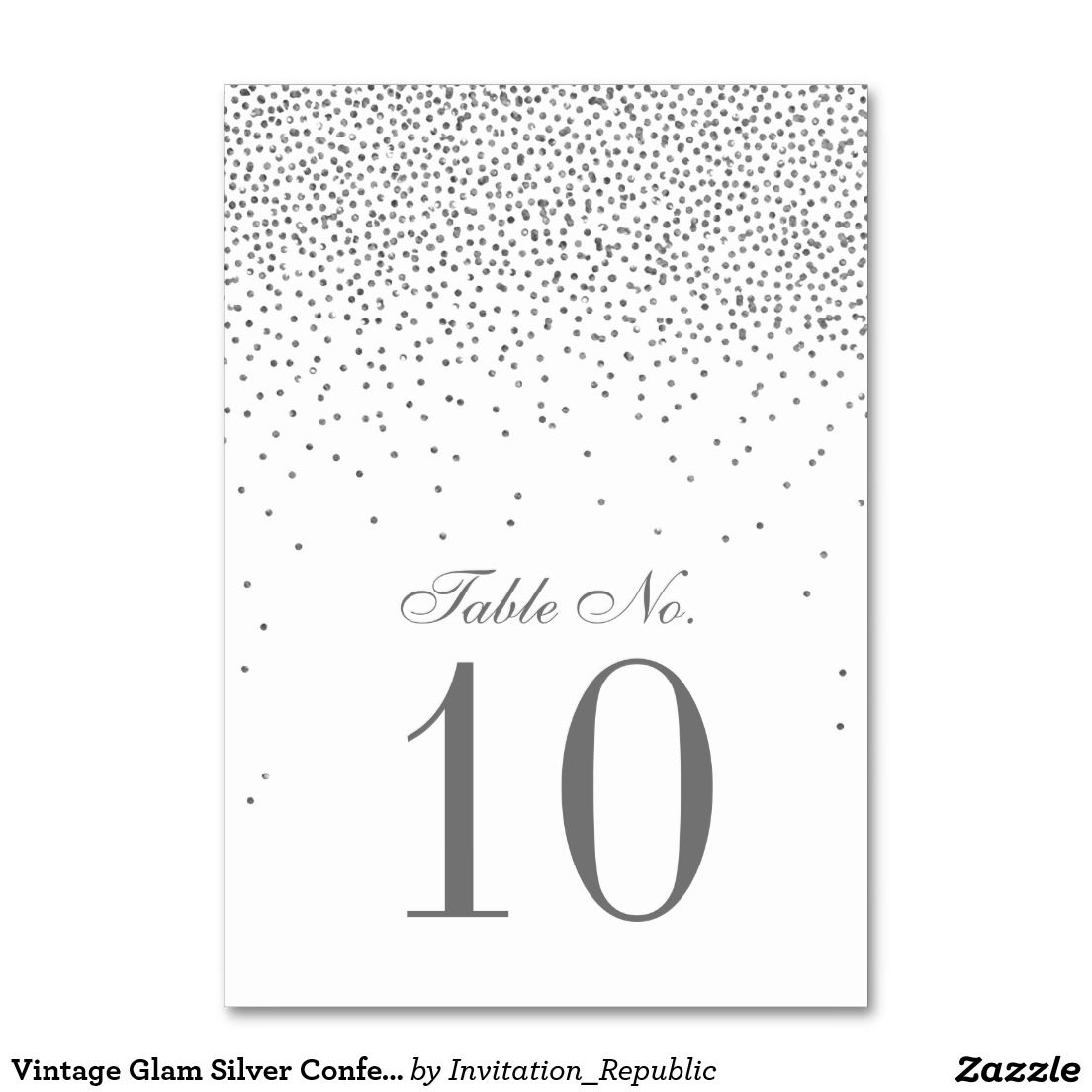 Vintage Glam Silver Confetti Wedding Table Number Card Table