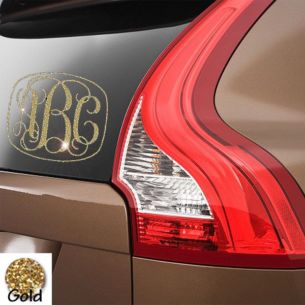 Interlocking monogram car decal w glitter vinyl
