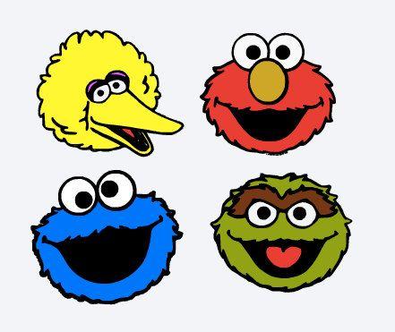 svg sesame street characters elmo big bird cookie monster oscar cut file printable