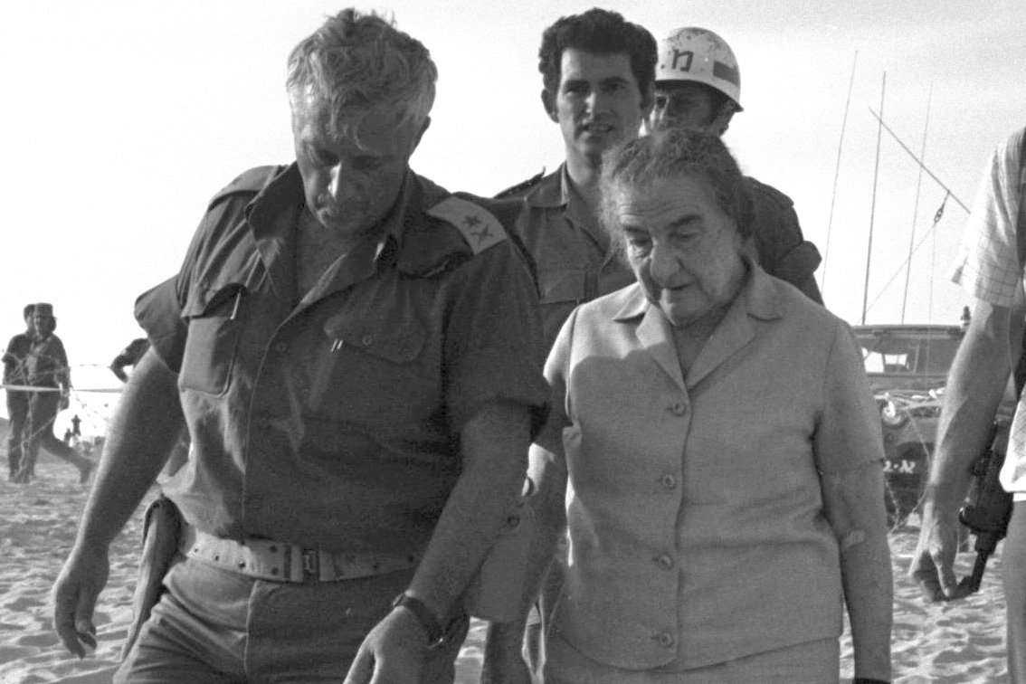 Israeli P.M. Golda Meir and Ariel Sharon the commander of ...