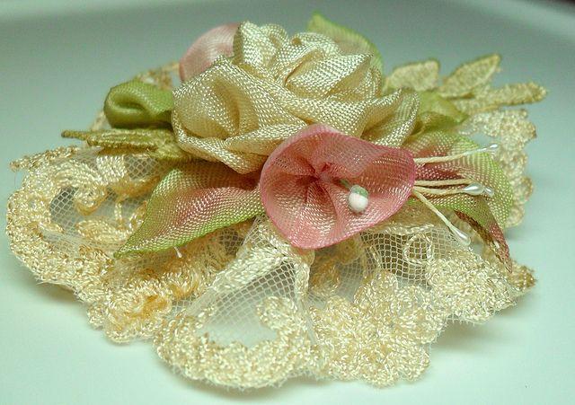 Vintage English lace with ribbonwork ribbon flowers | Flickr - Photo Sharing!
