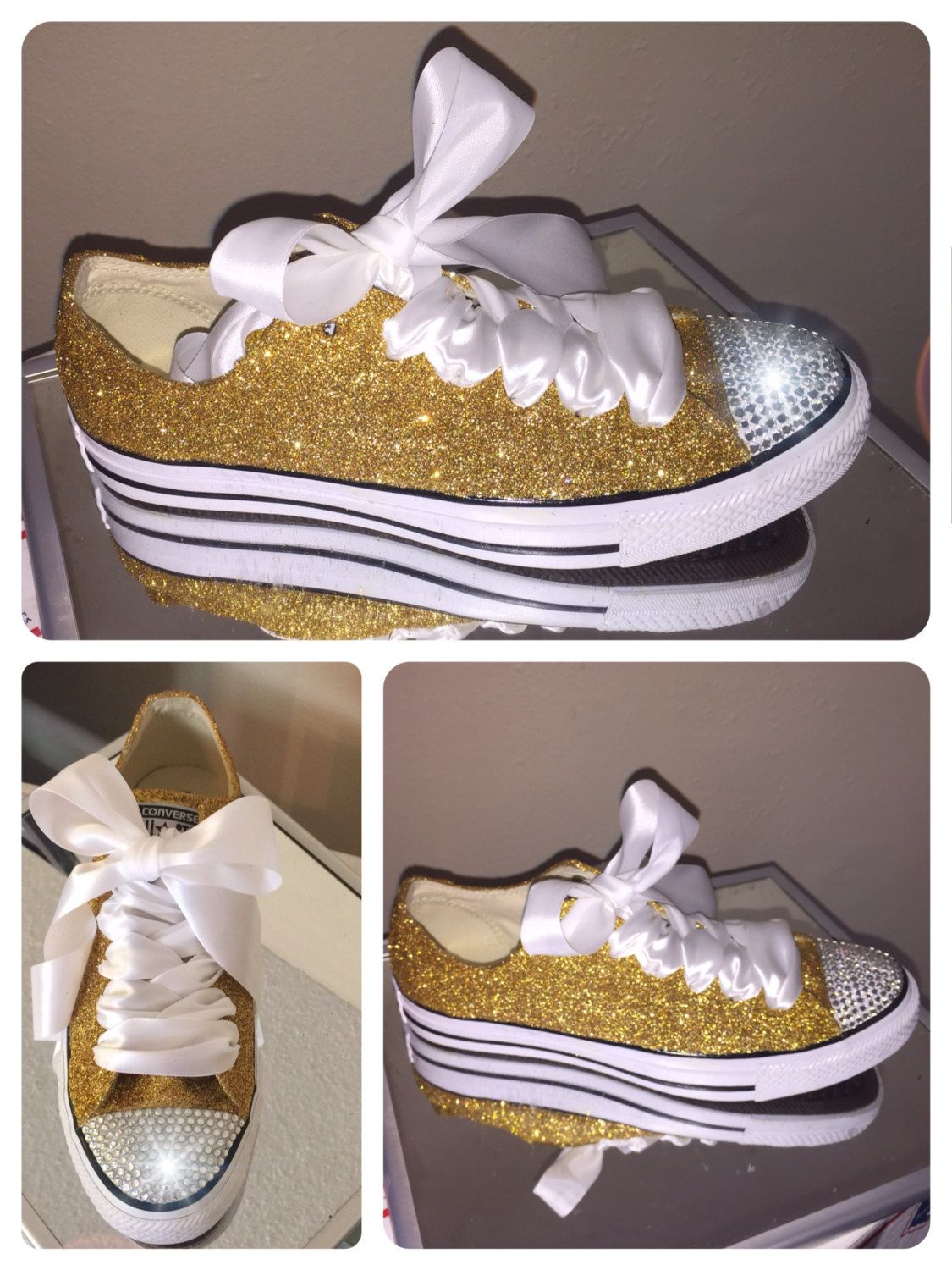 e09daa512cd4 Sparkly Gold PICK YOUR shade in Glitter Swarovski crystals rhinestones  CONVERSE all star sneakers tennis shoes by CrystalCleatss on Etsy For  10  off use ...