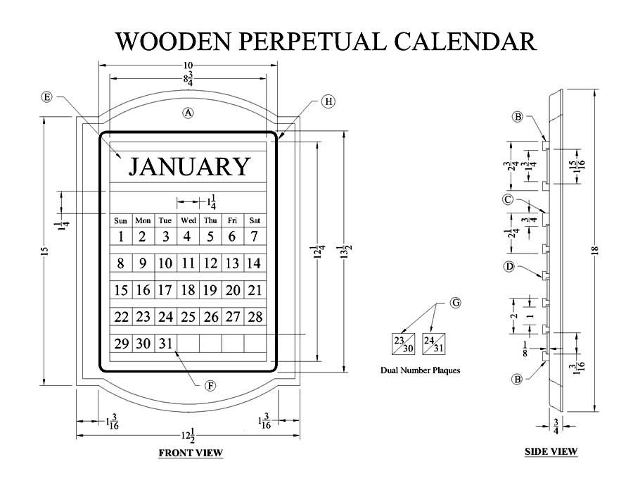 How to Make a Wooden Perpetual Calendar - Free Woodworking Plans