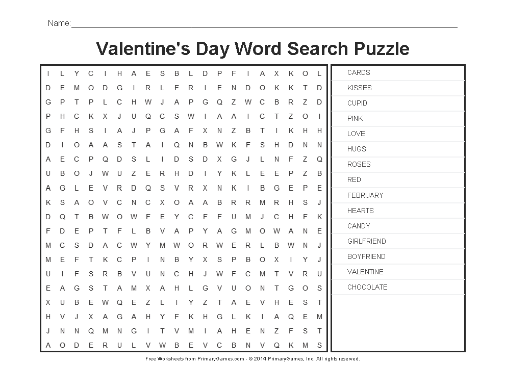 valentine 39 s day worksheets valentine 39 s day word search kids stuff valentines day words st. Black Bedroom Furniture Sets. Home Design Ideas