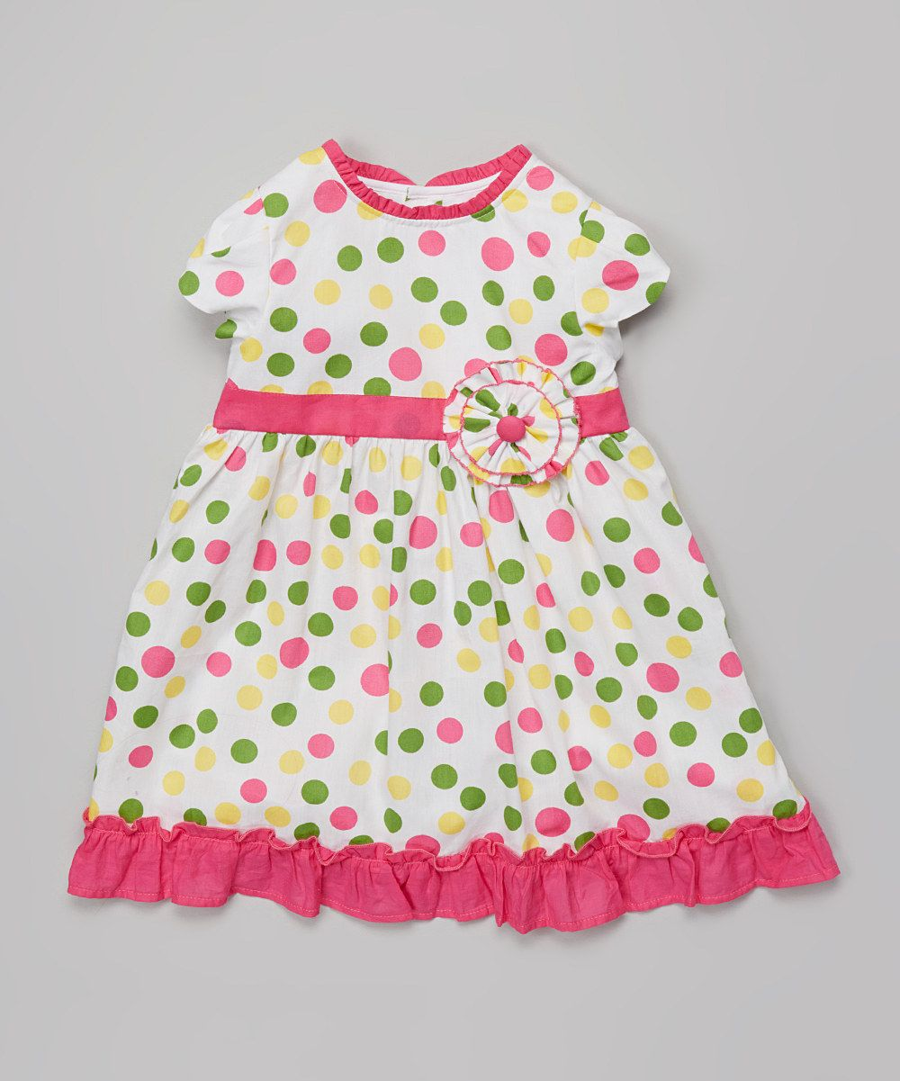 Another great find on #zulily! Pink Polka Dot Angel-Sleeve Dress - Infant & Toddler by P'tite Môm #zulilyfinds
