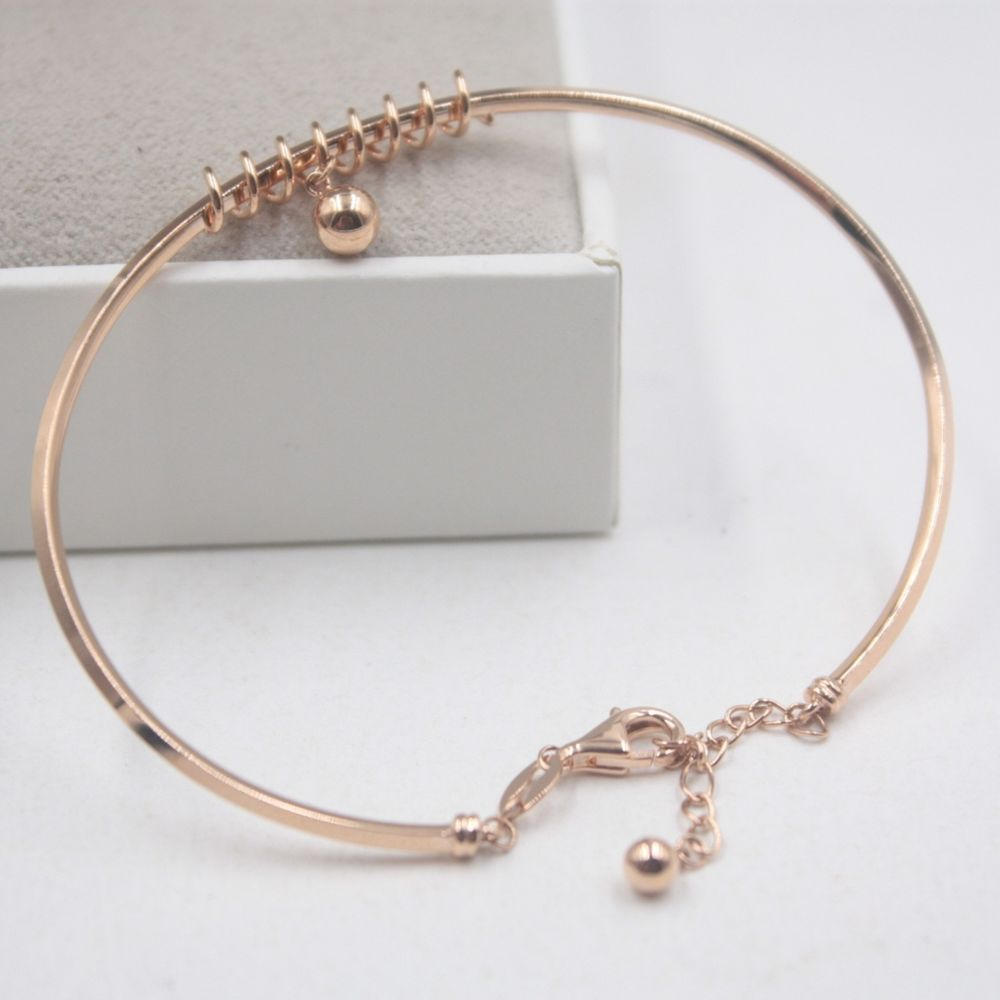 Au pure k rose gold bangle women spring bead fine bracelet
