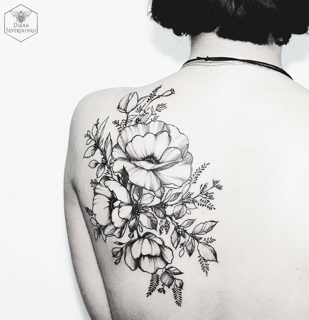 Black Floral Tattoo By Diana Severinenko Black And White Blumen