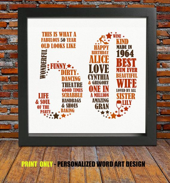 Personalized Birthday Gift Print 50th By BlingPrints