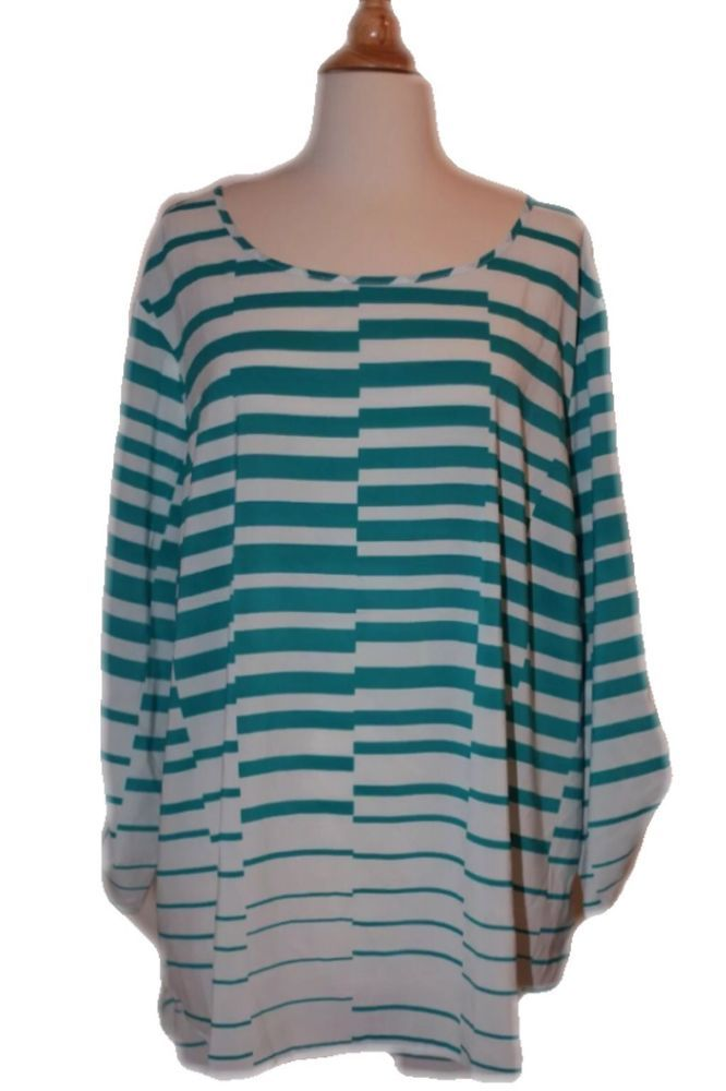 277b819dc1c Casual Striped Plus Size Tops   Blouses for Women. New Cato 22 24W Teal  White Striped Geometric Hi Low Long Sleeve Dress Top Shirt