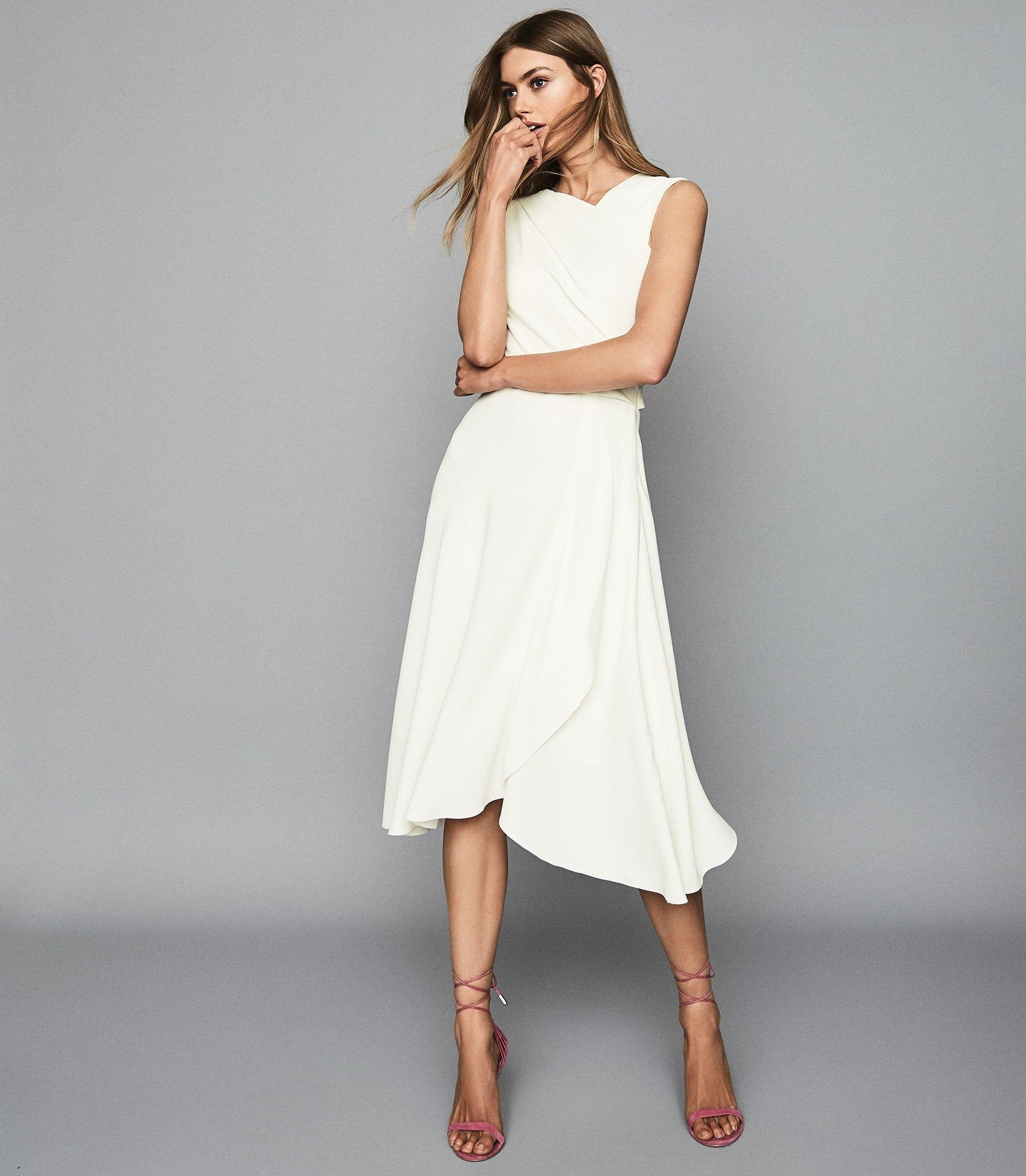 Marling Ivory Wrap Front Midi Dress Reiss Iconic Dresses Trendy Fashion Outfits Dresses [ 1918 x 1673 Pixel ]