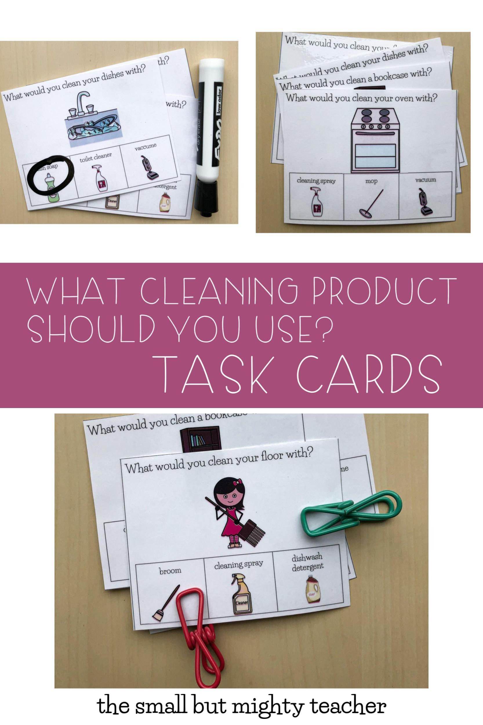 Which Cleaning Product To Use Task Cards In