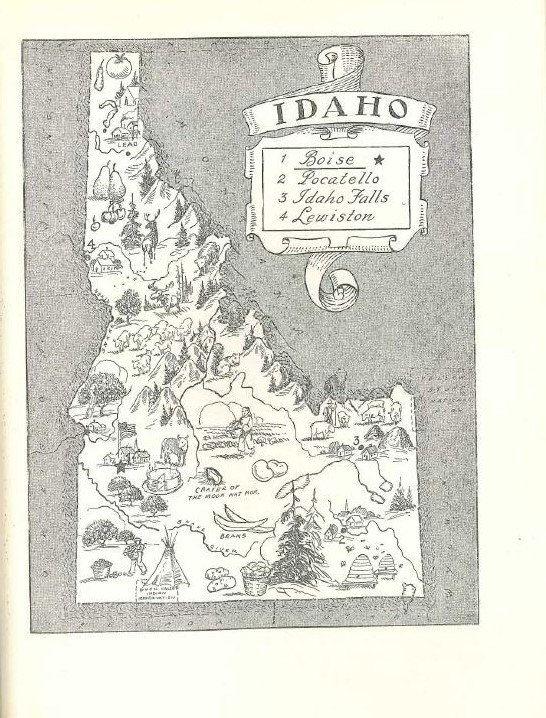 Idaho State Map Wall Decor Idaho Map Print 1950s Vintage Map Art