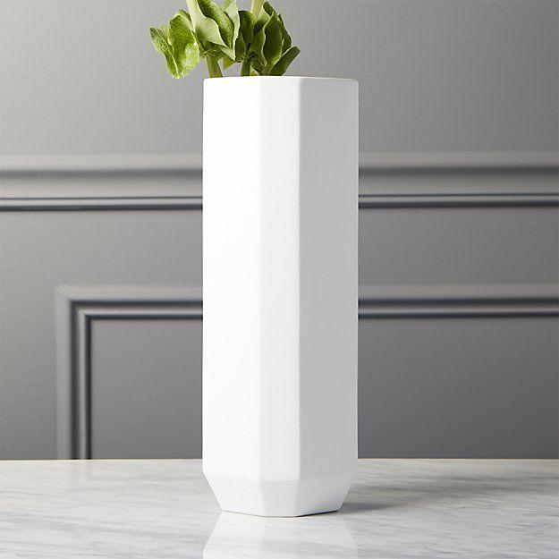 Cb2 Intermix White Tall Vase Tall Vases Stoneware And Columns
