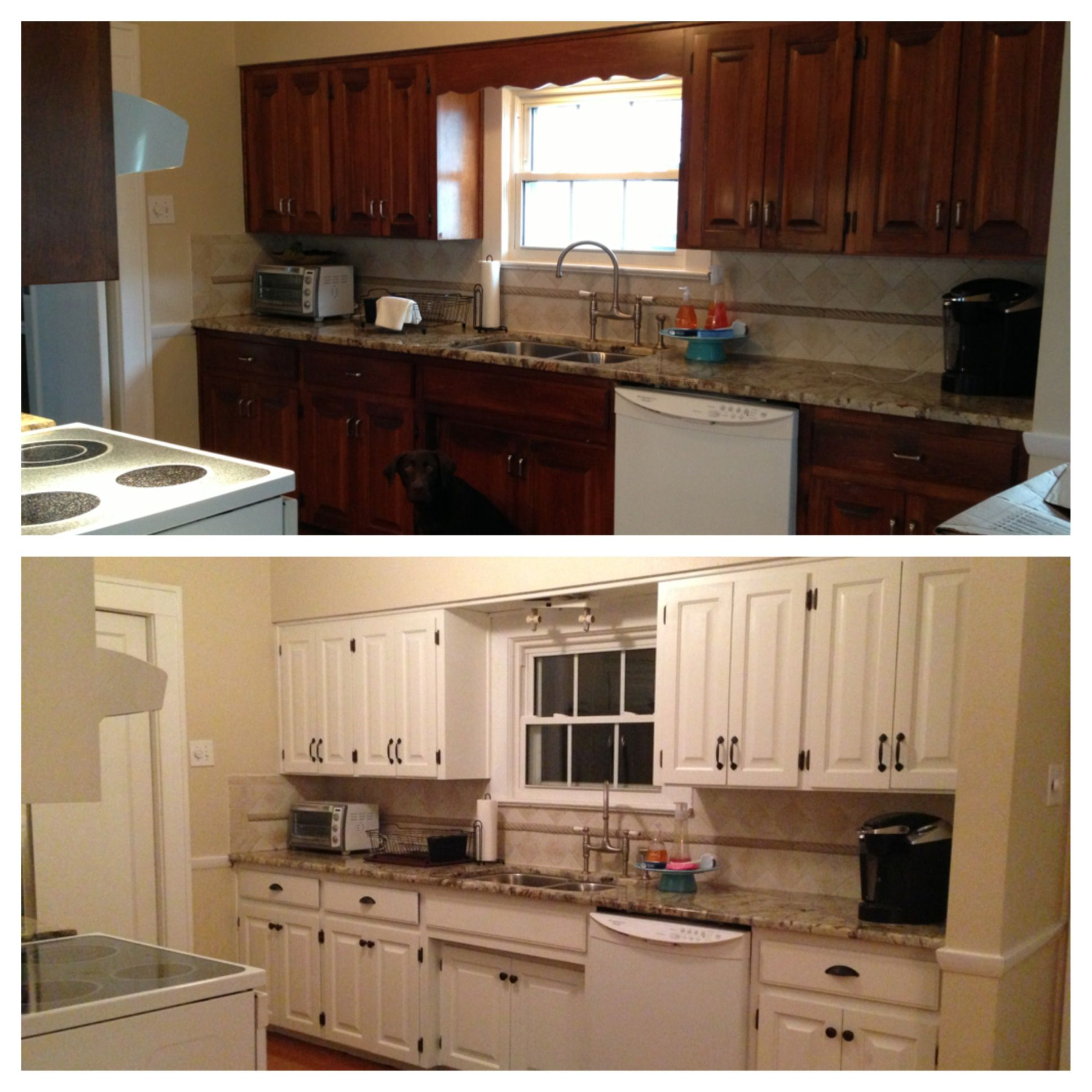 Wooden kitchen cabinets redone white Wow what a difference this