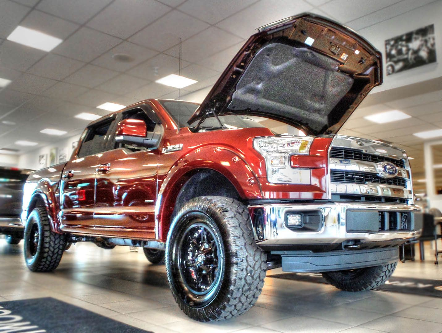 "Kentwood Kustoms ""Bronze Fire"" 2015 Ford F 150 Lariat Supercrew 4X4 Modifications include fender flares painted to match Pro p Xtreme A T tires and"