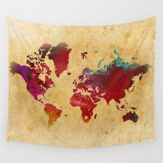 Worldmapwalltapestrybydaniellerosefisher 3900 home world map wall tapestry by danielle rose fisher gumiabroncs Gallery
