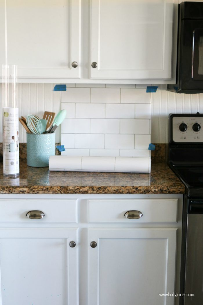 faux subway tile backsplash wallpaper  Over The Moon