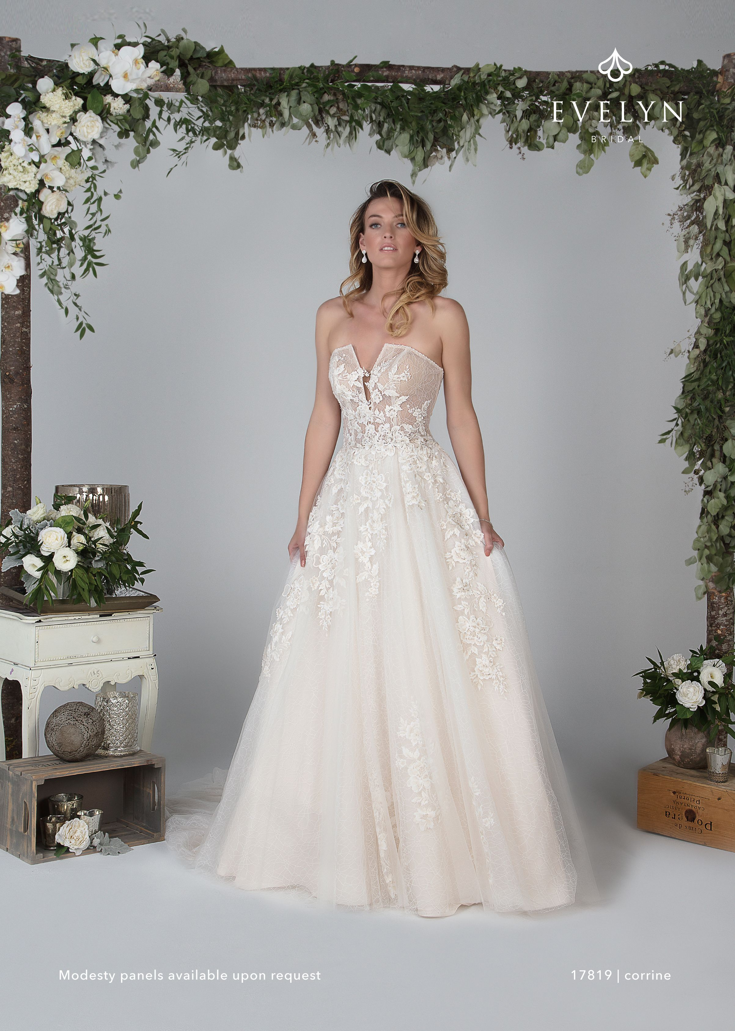 Corrine 17819 strapless tulle ball gown with
