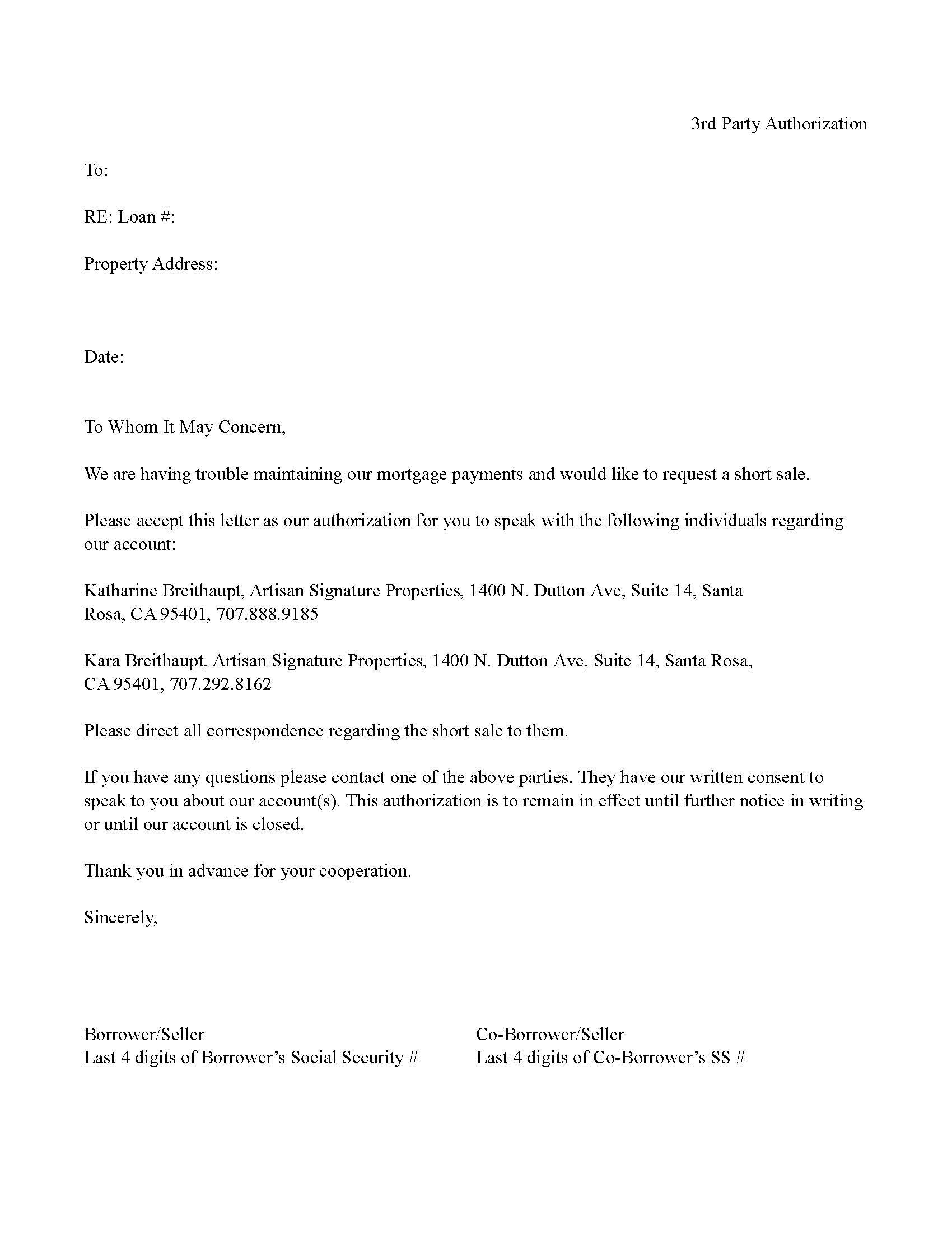 Bank party letter authorization short sale template for two mla bank party letter authorization short sale template for two mla format example best collection thecheapjerseys Choice Image