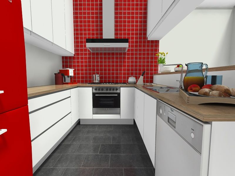 Captivating Kitchen Ideas Kitchen With Red Tile Accent Wall