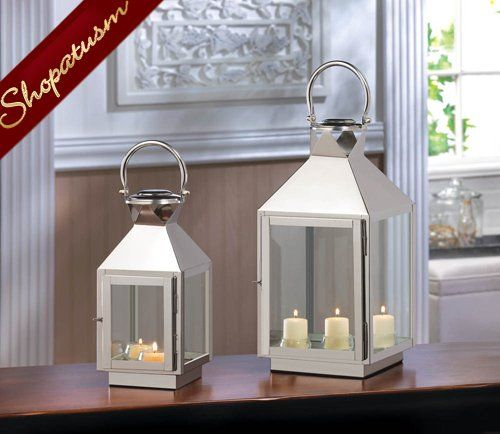 Large Dapper Silver Centerpiece Stainless Steel Candle Lantern