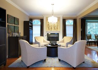 Four Chairs Around Table In Front Of Fireplace For Library Home Office Game Room Family Home Room