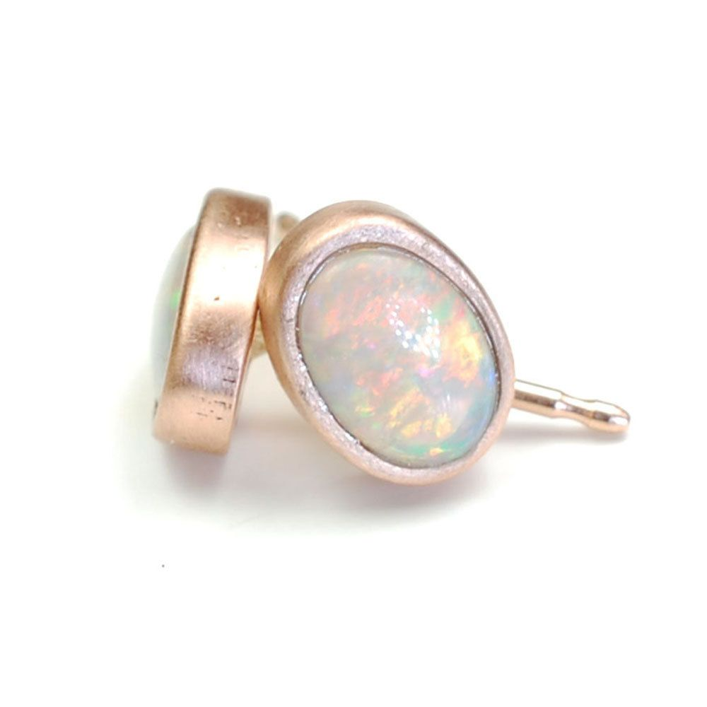 Opal Earrings Studs Rose Gold Pink October Birthstone Nixin