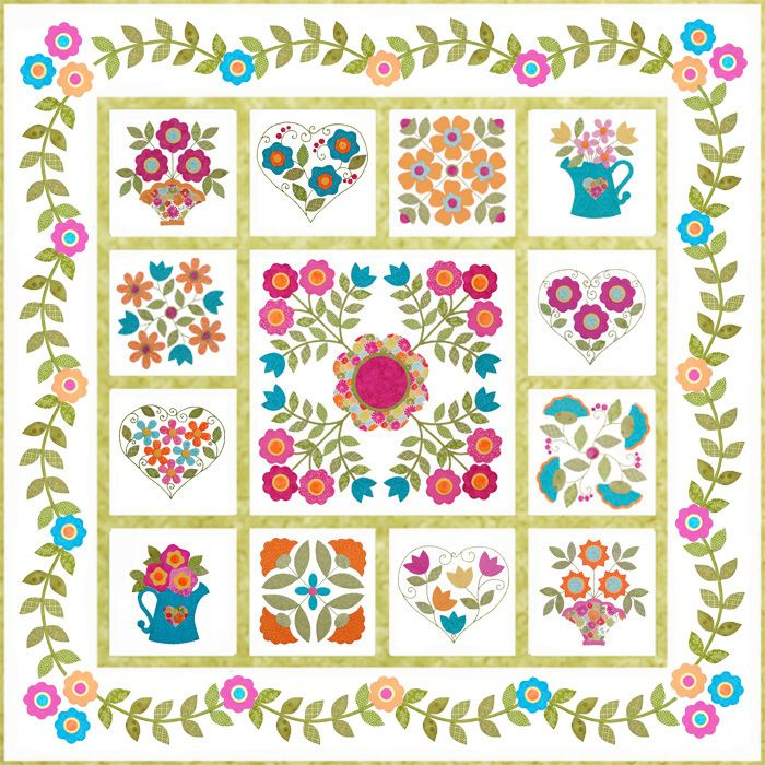 Be Happy Free Flower Applique Quilt Border Patterns Flower Quilt Patterns Free Applique Patterns Flower Quilt