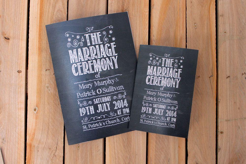 Blackboard Inspired Mass Books Wedding Invitations