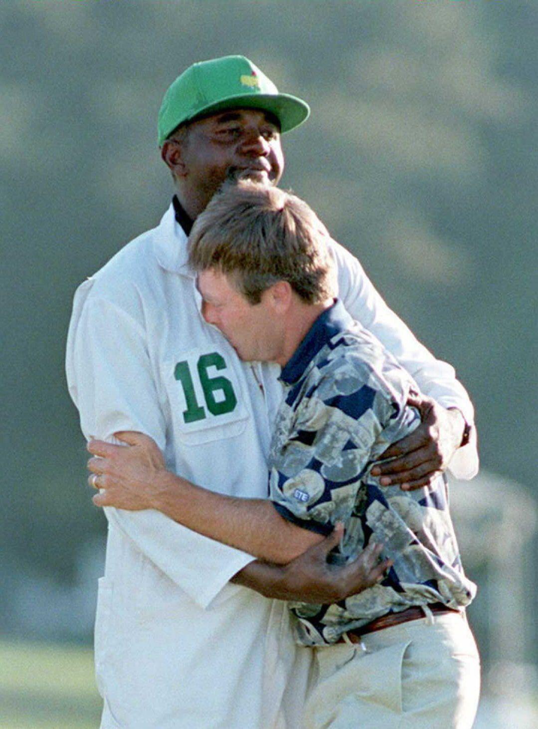 8afdaf1079d Ben Crenshaw - 1995 Masters Champion hugging his caddy ...