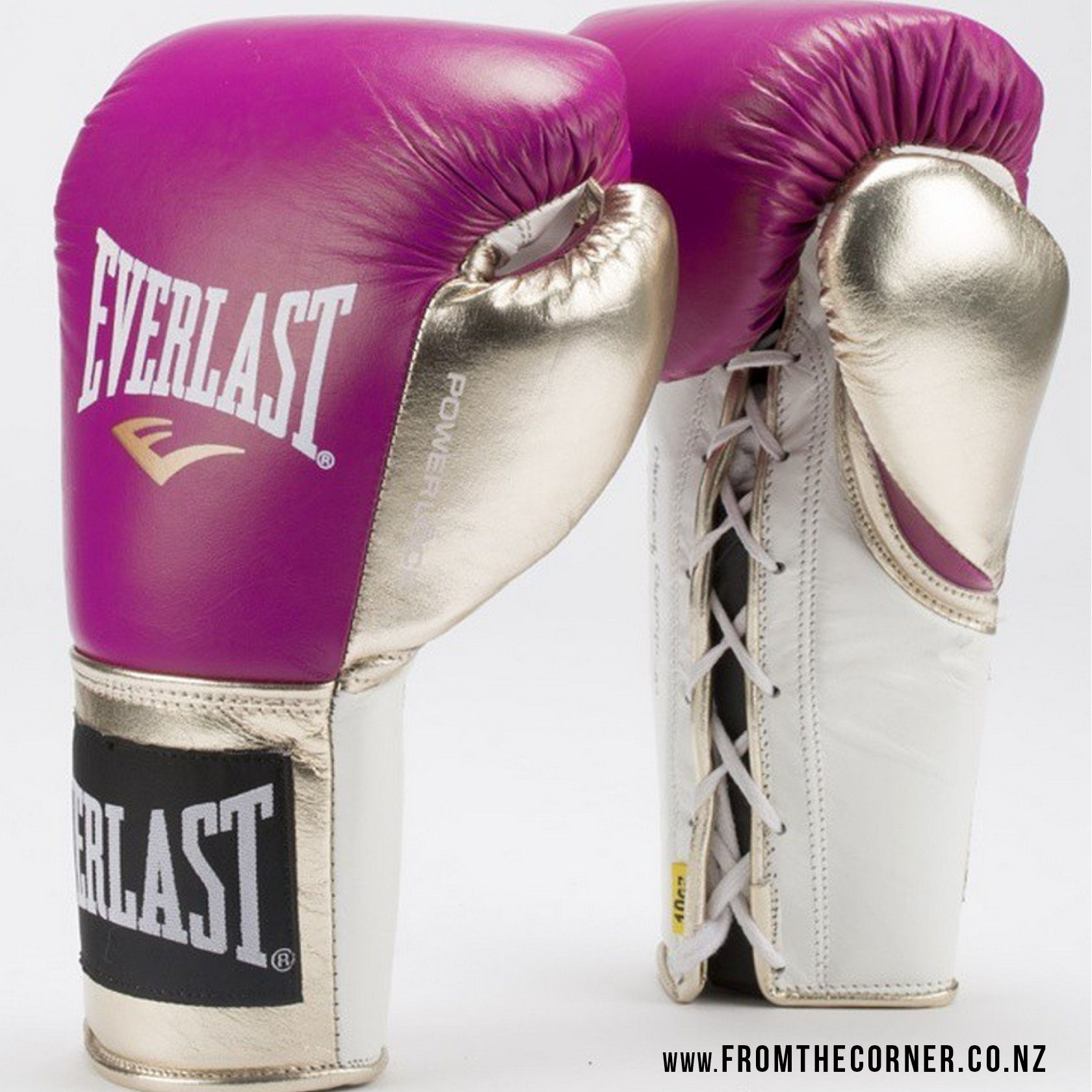 Personalized Fitness Gloves: Custom-made Purple And Gold Everlast PowerLock Boxing