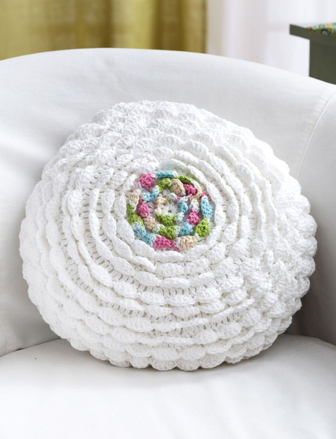 Ruffled crochet pillow adds a delicate touch: free crochet pattern ...